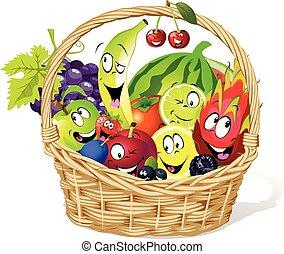 vecteur, entiers, -, caractère, illustration, panier fruit, dessin animé