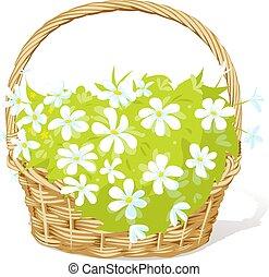 vecteur, entiers, printemps, illustration, panier, fowers, -, blanc