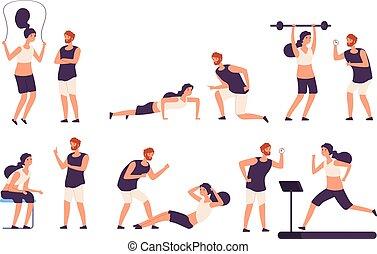 vecteur, entraîneur, ensemble, crise, personnel, gymnase, fitness, mâle, exercisme, isolé, femme, formation, aides, trainer., girl, instructeur