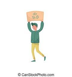 vecteur, environnement, sien, gens, eco, sur, recyclage, conservation, signe, protester, protection, illustration, tenue, homme, tête, amical, planche