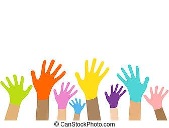 vecteur, eps10., hands., collection, multicolore