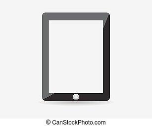 vecteur, eps10, illustration., tablette, qualité, moderne, -, screen., illustration, élevé, réaliste, informatique, vide, appareil, blanc, technologie