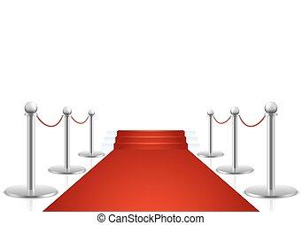vecteur, escalier, rouges, illustration, moquette