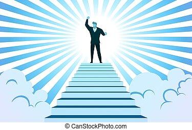 vecteur, escalier, sommet, monter, nuage, rayon soleil, réussi, illustration, homme affaires, main