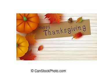 vecteur, espace, feuilles, thanksgiving, illustration, bois, conception, blanc, copie, érable, citrouille