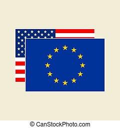 vecteur, eu, ensemble, drapeaux, nous
