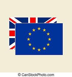 vecteur, eu, ensemble, drapeaux, royaume-uni