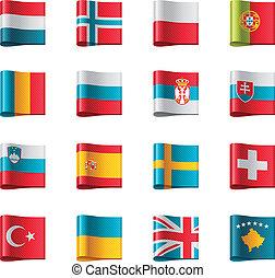 vecteur, europe, partie, flags., 3