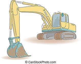 vecteur, excavateur, isolé, illustration, fond, blanc