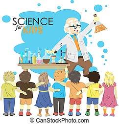 vecteur, expérience, gosses, science, illustration, scientifique, chimie, laboratory., dessin animé, kids., spectacles