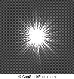 vecteur, explosion, lumière, star., transparency., illustration, bokeh., lentille, arrière-plan., clair, incandescent, éclats (flares), étoiles, scintillements, rayons, transparent, effets