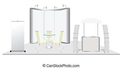 vecteur, exposition, cabine, conception