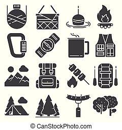 vecteur, extérieur, camping, récréation, ensemble, icônes