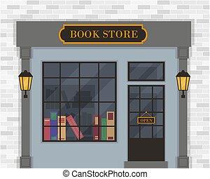 vecteur, exterior., magasin livre, illustration.