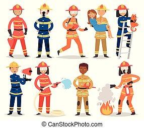 vecteur, extincteur, ensemble, prise eau, firefighting, pompier, brûler, pompier, caractère, isolé, illustration, ou, équipement, femme, fond, casque, blanc, firehose, dessin animé, homme