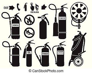 vecteur, extinguisher., protection, brûler, images, mousse, symboles, équipement, station, flamme, monochrome, ensemble, silhouette