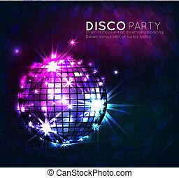 vecteur, fête, fond, bannière, balle, , disco, conception