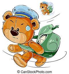 vecteur, facteur, lettres, ours, dépêcher, sac, teddy, illustration, brun, porter