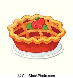 vecteur, fait maison, fruit, et, tarte baie, pour, noël, thanksgiving, et, tout, genres, de, holidays.