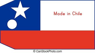 vecteur, fait, mot, chili, coût, isolé, illustration, drapeau, étiquette, fond, blanc