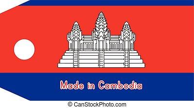 vecteur, fait, mot, coût, isolé, cambodia signalent, étiquette, illustration, fond, blanc