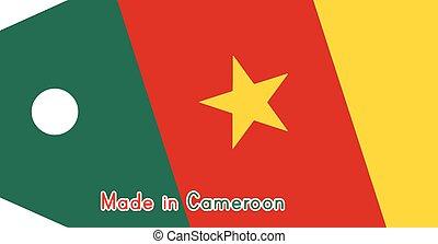 vecteur, fait, mot, coût, isolé, illustration, arrière-plan., drapeau, étiquette, blanc, camerounais