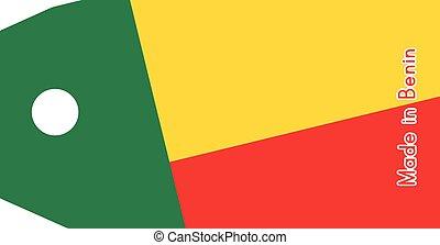 vecteur, fait, mot, coût, isolé, illustration, drapeau, étiquette, fond, blanc, bénin