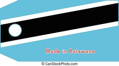 vecteur, fait, mot, coût, isolé, illustration, drapeau, étiquette, fond, blanc, botswana