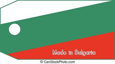 vecteur, fait, mot, coût, isolé, illustration, drapeau, étiquette, fond, blanc, bulgarie