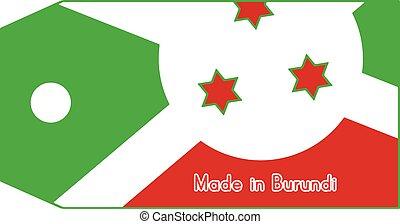 vecteur, fait, mot, coût, isolé, illustration, drapeau, étiquette, fond, burundi, blanc