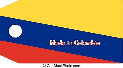 vecteur, fait, mot, colombie, coût, isolé, illustration, drapeau, étiquette, fond, blanc