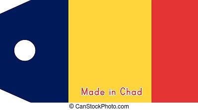 vecteur, fait, mot, tchad, coût, isolé, illustration, drapeau, étiquette, fond, blanc
