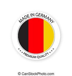 vecteur, fait, prime, simple, autocollant, moderne, isolé, étiquette, drapeau allemand, fond, allemagne, couleurs, blanc, qualité, conception, timbre