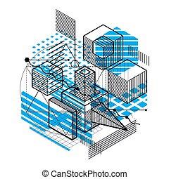 vecteur, fait, rectangles, résumé, cubes, isométrique, gabarit, elements., différent, lignes, hexagones, fond, illustration., carrés
