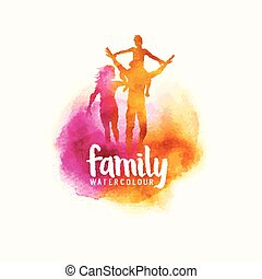 vecteur, famille, aquarelle