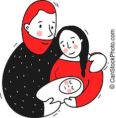 vecteur, famille, illustration