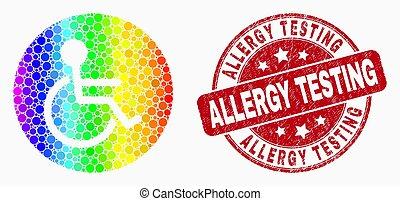 vecteur, fauteuil roulant, spectral, essai, pixelated, timbre, cachet, allergie, icône, personne, grunge