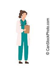 vecteur, femme, arrière-plan., ouvrier, uniforme, dossier, sourire, isolé, plat, tenue, dessin animé, hôpital, debout, professionnel, tablette, blanc, personnel, médecine, docteur, monde médical, illustration., femme