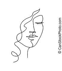 vecteur, femme, art., dessiné, face abstraite, main, ondulé, hair., ligne, contour, noir, illustration, blanc
