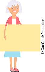 vecteur, femme, bannière, illustration.