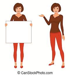vecteur, femme, caractère, dessin animé