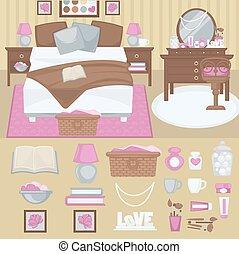 vecteur, femme, chambre à coucher, interior.