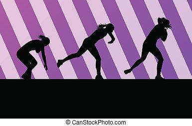 vecteur, femme, coup, athlétique, concept, fond, mettre
