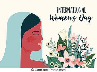 vecteur, femme, day., s, indien, gabarit, international, fleurs, femmes