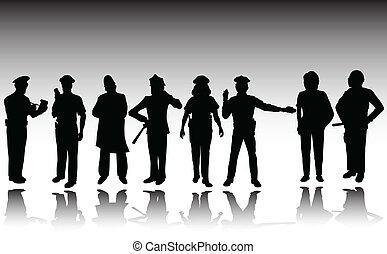 vecteur, femme, homme police