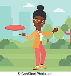 vecteur, femme, illustration., disque volant, jouer