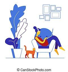 vecteur, femme, intérieur, position., employé, employment., home., worker., illustration, rester, girl, éloigné, arrière-plan., ordinateur portable, travailleur indépendant, chaise, remotely, travaux, blanc, lointain, décontracté