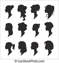 vecteur, femme, profils