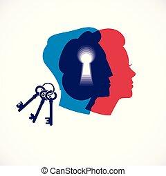 vecteur, femme, têtes, psychologie, famille, créé, trou de la serrure, society., problèmes, illustration, ou, concept, relation, compréhension, clã©, genre, conflits, logo, profils, homme