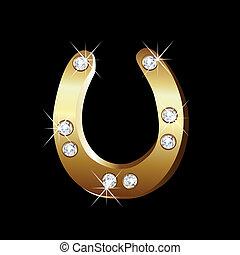 vecteur, fer cheval, or, icône